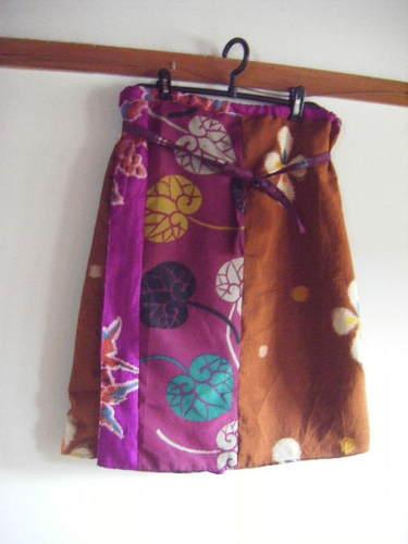 銘仙パッチ巻きスカート
